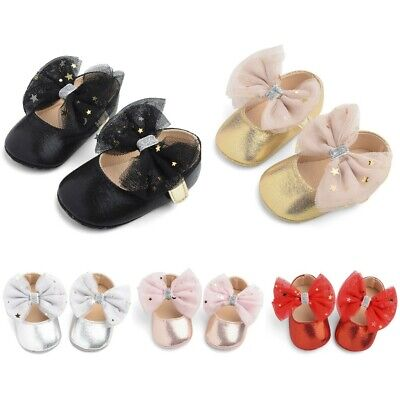 Toddler Kids Baby Girls Sequin Cute Boots Bow First Walk Hook&Loop Casual Shoes