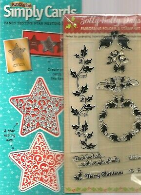 Jolly Holly Christmas Embossing Folder & Stamps And Nesting Die Set
