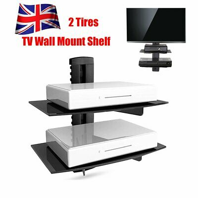 2 Wall Mount Shelf Floating Bracket For Xbox PS4 Sky TV DVD Shelves Black Glass