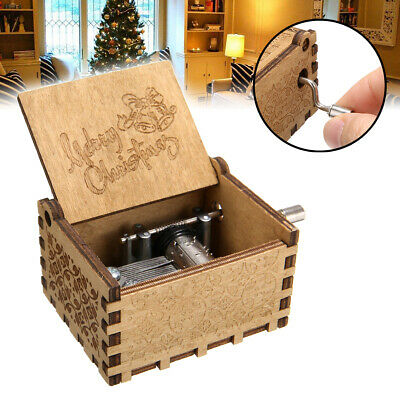 Retro Wooden Music Box Antique Hand Crank Engraved Toys Kids Gift Merry Christma