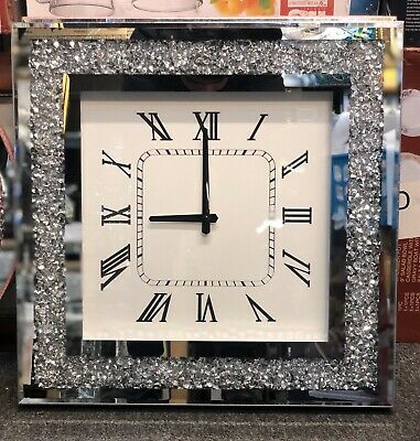 Diamond Crush Crystal Large Sparkly Mirrored Square Wall Clock- Silver 46x46x5cm