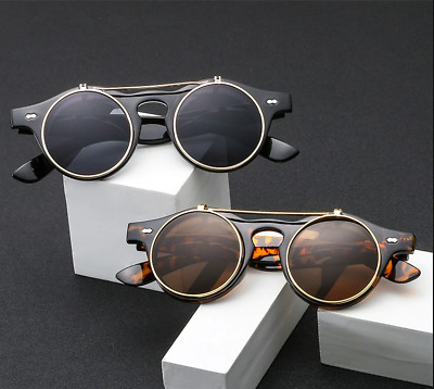 Steam Punk Flip Up Classic Double Layer Sun Glasses Free Shipping