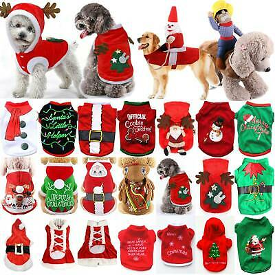 UK Pet Cat Dog Christmas Outfit Costumes Sweater Hoodie Dress Xmas Clothes Coat
