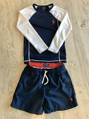 Boys Ralph Lauren Navy Swimming Shorts & Rash Guard Size/Age 4T