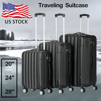 3 Piece ABS Luggage Trolley Carry On Travel Case Bag Spinner Hard Shell Suitcase