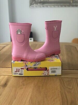 NEW Kids JOULES Girls Printed Wellington Rain Boots Pink Cat and Mouse. Size 13