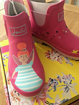 NEW Kids JOULES Girls Wellington Wellibob Short Rain Boots Pink Fairy Size 13
