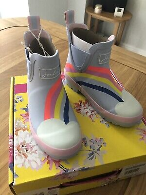 NEW Kids JOULES Girls Wellington Wellibob Short Rain Boots Blue Rainbow Size 12