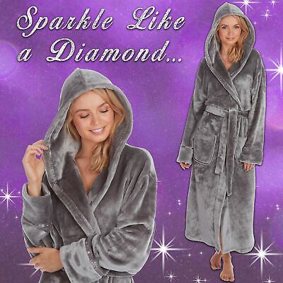 Ladies Womens Silver Grey Shimmer Dressing Gown Long Bath Robe Hood Pockets Warm