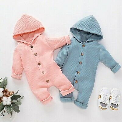 Newborn Infant Baby Boys Girls Long Sleeve Solid Hooded Romper Jumpsuit Clothes