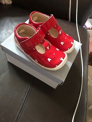 Disney Minnie Mouse Clarks Shoes Red And White Uk Size 4 1/2 F