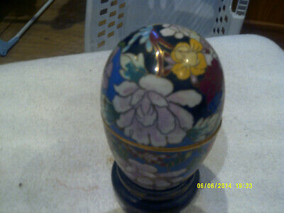 beautiful chinese large egg trinket box on wooden stand, very lovely