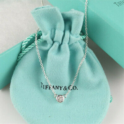 Authentic TIFFANY & CO Sterling Silver Diamonds By The Yard Pendant Necklace