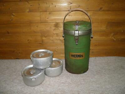 WW2 British Military Soldiers Thermos Branded Vacuum Food Flask Inc 3 Containers