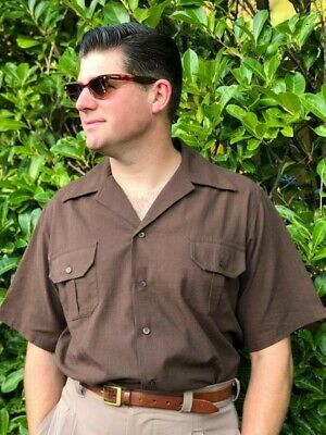 Heyday clothing 30s/40s style short sleeve safari shirt in Brown size 'XL'