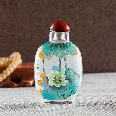 Inner Painting Snuff Bottle Chinese Antique Lotus and Kingfisher Means Lucky