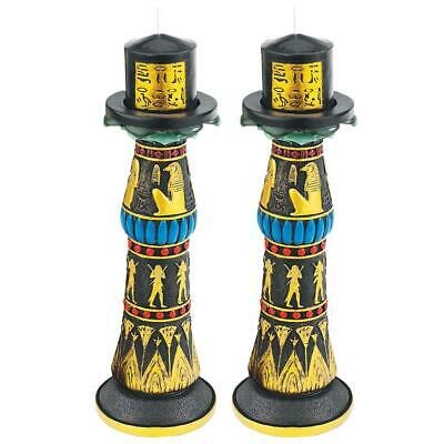 Design Toscano Temple of Rameses Sculptural Candleholder: Set of Two