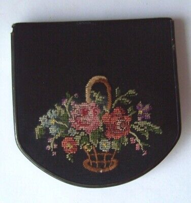 Unique Vintage Petit Point - Needlepoint -Embroidered Ladies Face Powder Make-Up