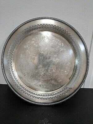 Vintage Wm Rogers Silver Plated Round Etched  Serving Tray Platter 4871P