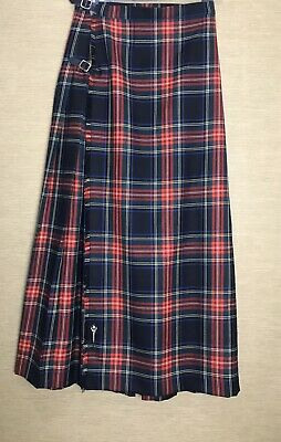 "HECTOR RUSSELL Red Tartan Full Length Kilt UK 10 28"" Christmas, Hogmanay"