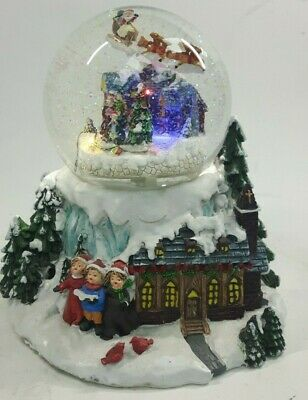 Large Santa Musical Battery Snow Globe Traditional Christmas Decoration #NG