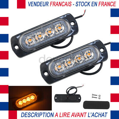 2X Feux Lateral Orange 12V Dc 4 Led Remorque Camion Camping Car Securite Flash