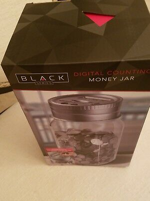 Black Series Gray/Clear Automatic Digital Counting Moneyjar Bank New In The Box
