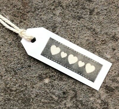 10no ROSE HEART Gift Tags Handmade Pink,White,Grey Wedding//Birthday//Hen//B Shower