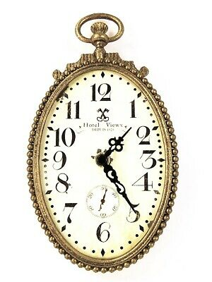 Wall Clock Oval Antique Gold French Script Fob Style with Ornate Crown and Le...