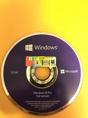 Microsoft Windows 10 PRO Professional 32bit DVD + COA Product Key + Hardware