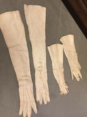 2 Pairs Antique Lady's Gloves, very fine soft leather
