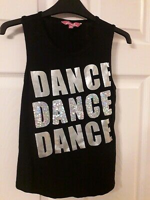 Pineapple Authentic Girls Black And Silver Gym Top Age 8-9 Years Used