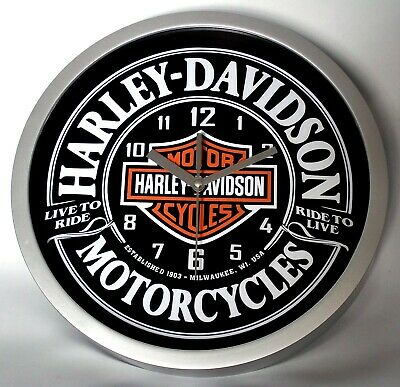 Harley Davidson Themed Bar & Shield Wall Clock. Almost Silent Movement. Boxed