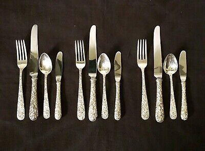 S. Kirk & Son Repousse Sterling Silver Three 4-piece Place Settings No Mono EUC