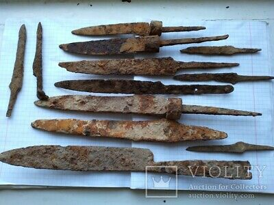 ANCIENT 12 Pieces IRON Weapon Battle KNIFE Viking