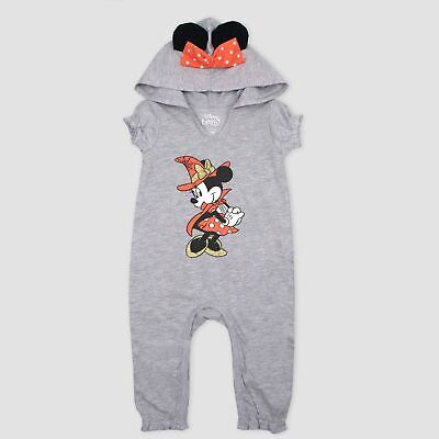 Baby//Infant Girls Minnie Mouse SS Hooded Bodysuit Sparkly Bow//Ears~Halloween