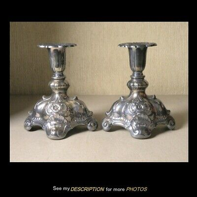 1945 CG Hallberg Sweden Sterling Silver Pair of Candle CANDLESTICKS