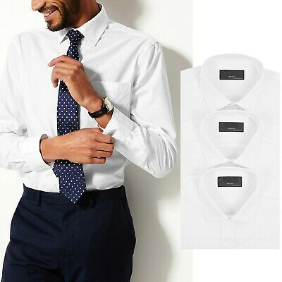 Mens 3 Pack Ex M&S White Shirts Plain Long Sleeve Formal Classic Collar Business