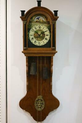 LARGE DUTCH WALL CLOCK weight driven, 8 day MOONROLLER like Zaandam RESTORE