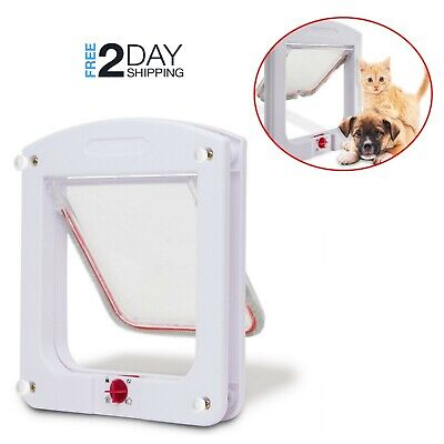 Cat Dog Flap Door Interior Exterior Small 4 Way Lockable Pet Gate Safe Portal