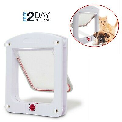 Cat Dog Flap Door Interior Exterior Small Portal Entry 4 Way Lockable Pet Gate