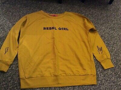 Pink Woman ochre yellow rebel girl long sleeved top age 13 + ladies small 6-8