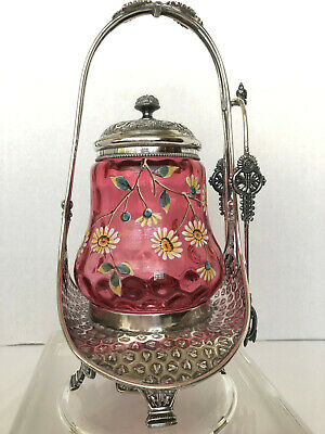 Antique VICTORIAN Silverplate PICKLE CASTOR with Beautiful Cranberry Insert