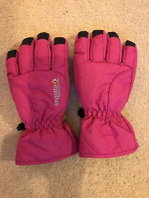 1 Pair Of Pink Regatta Ski Gloves Size 7-10 Years Used But In Excellent Cond