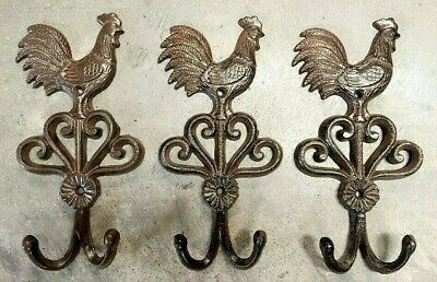SET OF 3 ROOSTER DOUBLE HOOKS rustic brown bronze vintage country heavy duty