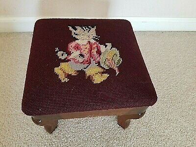 Antique Vintage Foot Stool Cat Embroidered Top