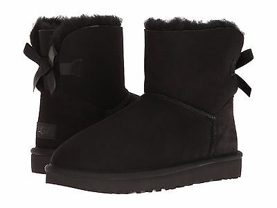 Ugg Mini B Bow Ii 1016501 Grey Women Gray Ankle Boots Size