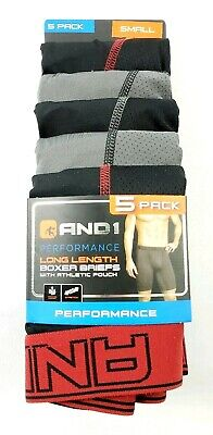 And1 5-Pack Performance Long Length Boxer Briefs - Black/Gray, Red Trim, Small