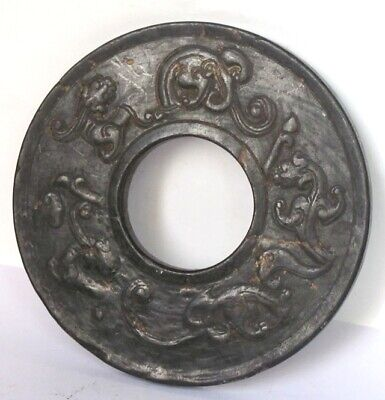 "4.7""HONGSHAN Culture Hand-carved chi dragon carving Meteorite ring Pendant"