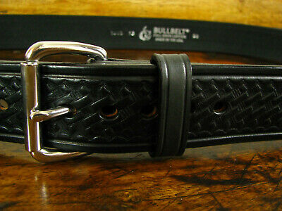 """Mens Thick Black Embossed Bullhide Belt 1 3/4"""" Wide Fits 47-48"""" Made in USA"""